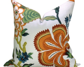 Hothouse Flowers pillow cover in Spark - orange flower
