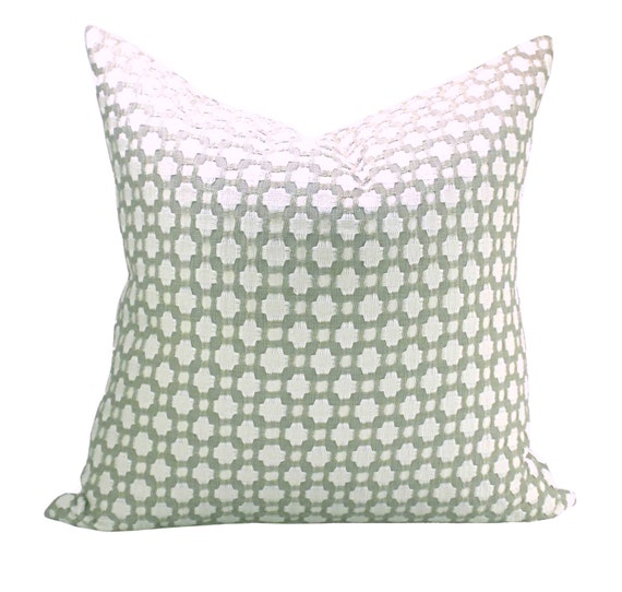 Schumacher Betwixt pillow cover in Stone/White