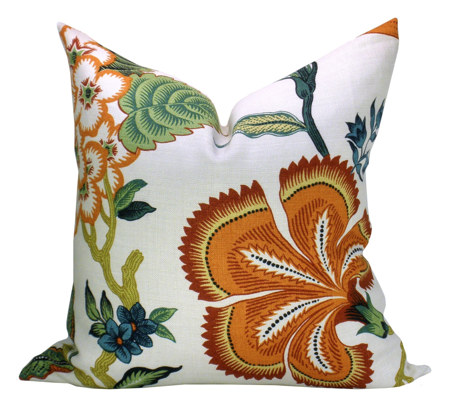 Hothouse Flowers pillow cover in Spark orange flower