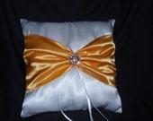 White Golden Yellow Gold Square Satin Ring Bearer Pillow Bow Rhinestone Rhinestones Wedding Bridal