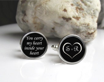 Personalized Cufflinks, Groom Cufflinks, Customized, Wedding Cufflinks, Anniversary