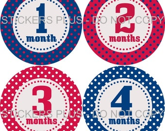 Baby Month Stickers Monthly Baby Stickers Milestone Stickers Baby Bodysuit Stickers Monthly Stickers Plus FREE Gift Boy Red White Blue Dots