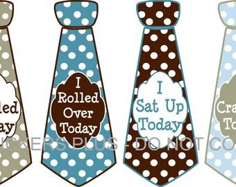 Baby Boy First 1st Milestones Birthday Ties Tee Shirt Stickers Necktie Blue Brown Dots Nice Shower Gift