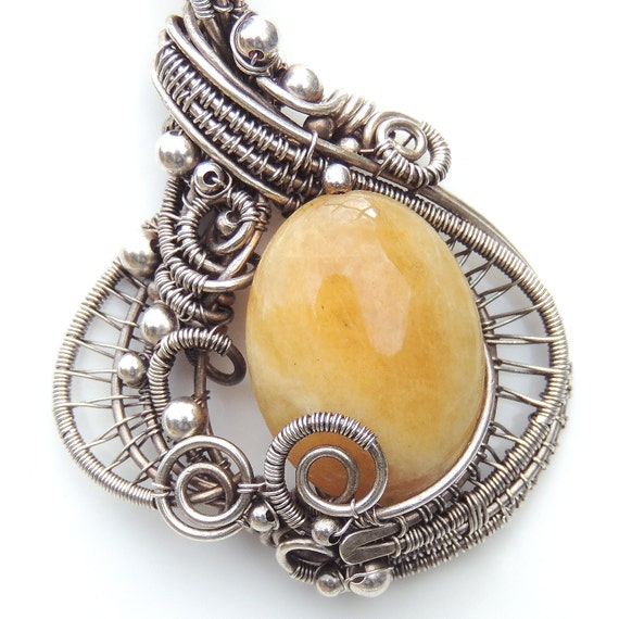 Yellow Aquamarine Silver Mermaid Amulet Necklace