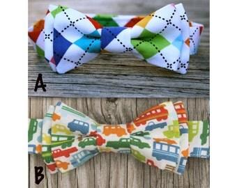 Boys Birthday Gift -- Rainbow Bow Tie -- Rainbow Tie -- Cars Tie -- Birthday Photo Prop