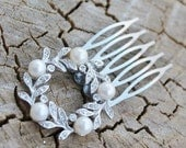 Vintage Silver Rhinestone and Pearl Wreath  Hair Comb - Bridal, Wedding, Prom