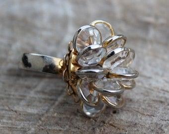 Vintage Bezel Glass Cluster Cocktail Ring
