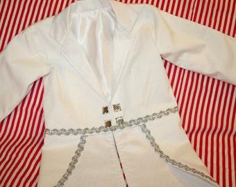 White Tuxedo Jacket with Tails- Carnival, Costume, Ringmaster, Circus, Photo Prop, Wedding, Christening, Baptism, Tailcoat, Ringbearer