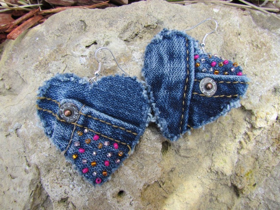 Earrings - Heart Shaped Recycled Levi's Denim - Hand Beaded Pink and Orange Upcycled Denim