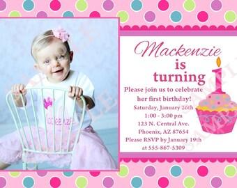 Custom Sweet Little Cupcake Birthday Party Invitation