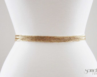 MARY - Beaded Gold Bridal Wedding Sash, Bridal Belt