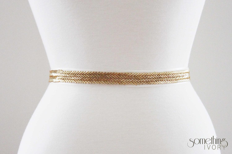 MARY Beaded Gold Bridal Wedding Sash Bridal Belt