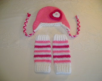 Valentine's Day - Pink Heart Crochet Hat & Legwarmer Set - Available in Any Size or Color Combination