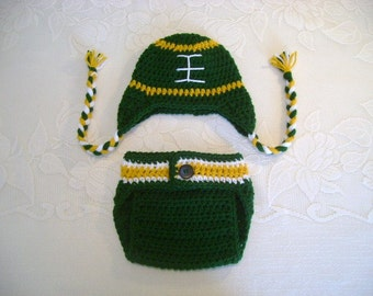 Green Bay Packers Inspired Crochet Football Hat and Diaper Cover Photo Prop Set - Available in Newborn, 3 to 6, 6 to 12 and 12 to 24