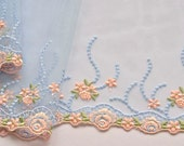 Baby Blue, Apricot, Lace Trim, Sky Blue, Peach Floral Embroidered, DIY Weddings, Veils, Brides Maids, Childrens Dresses