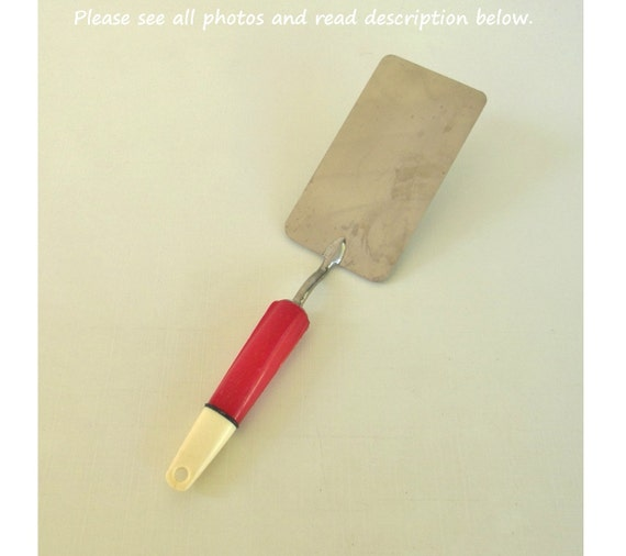 Vintage A Amp J Spatula Kitchen Utensil Red White By