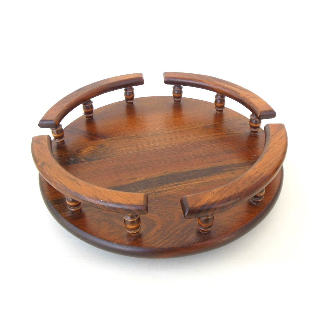 wood lazy susan table centerpiece 80s kitchen by
