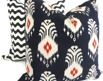 Nate Berkus Navy Blue and Red Ikat Decorative Pillow Cover Lumbar pillow, Accent Pillow, Throw Pillows,
