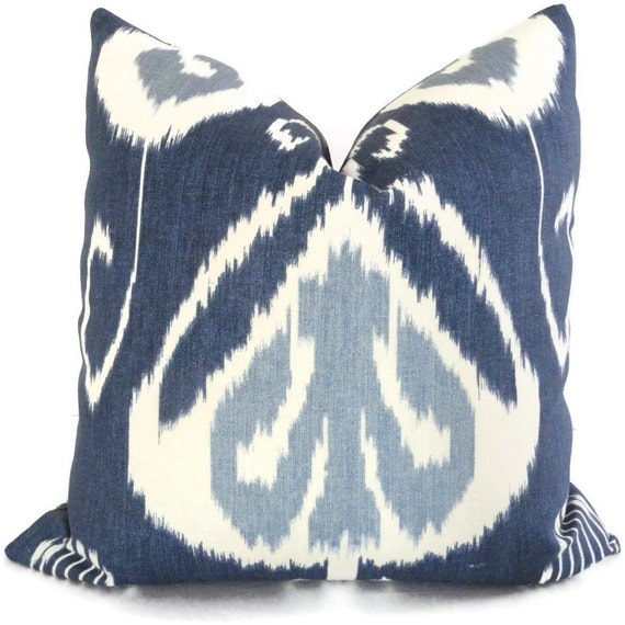 Ikat Throw Pillows Etsy : Indigo Ikat Kravet Decorative Pillow Cover 18x18 by PopOColor