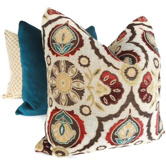 Red And Tan Decorative Pillows : Brown Turquoise Red Suzani Decorative Pillow Cover 20x20
