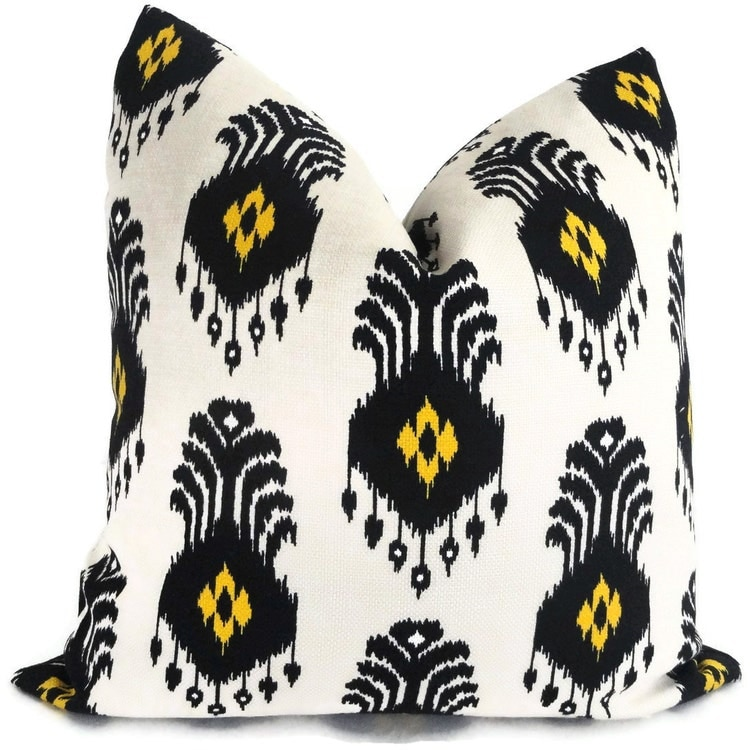 Nate Berkus Black And Gold Ikat Decorative Pillow By PopOColor
