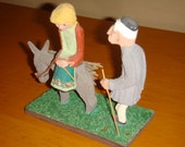 Hand Carved Couple on Donkey Made in Greece Wood Sculpture Folk Art