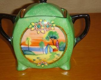 Vintage Green Cream & Sugar Hand Painted Japan