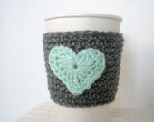 Crochet Coffee Cup Sleeve Valentines Day Crochet Cup Sleeve in Grey and Mint