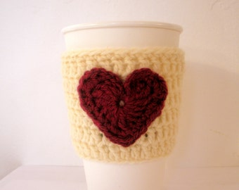 SALE Coffee Cup Sleeve Valentines Day Crochet Cup Sleeve in Cream and Maroon Wool