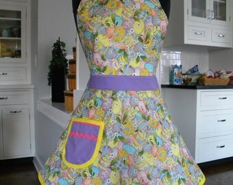 Womens Apron-Easter Painted Eggs and Glitter Full Sweetheart Apron
