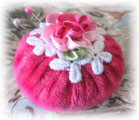 Pincushion MINI 2 inch Pinnie PINK Velvet Velour Handmade CharlotteStyle Sewing Needlecraft