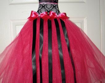 Hand Made Hot Pink & Damask princess dress hair bow holder Small/Med/Large