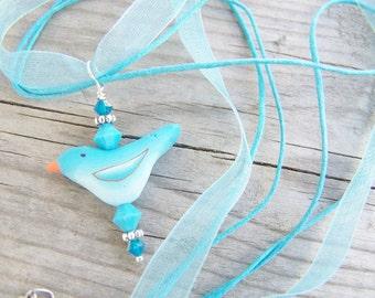 Polymer Clay Necklace Blue Bird Spring Organza Ribbon