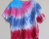 Kids Tie Dye T - Shirt Size Small in Turquoise, Pink, Red & Blue