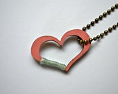 Coral and Mint color block open heart pendant necklace, hand painted