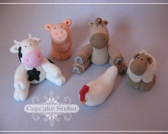 Set of 5 Gumpaste Farm Animal Cake and Cupcake Toppers by Cupcake Stylist