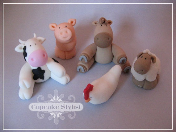 Set of 5 Gumpaste Farm Animal Cake and Cupcake Toppers by