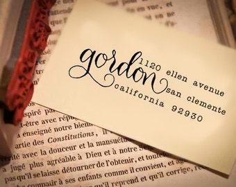 Custom Address Stamp -- Handwritten Calligraphy Return address stamp - Saison Paris Style modern - Wood or Self-inking Stamp