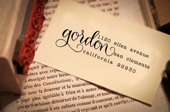 Custom Calligraphy Address Stamp -- Mixed Handwritten Calligraphy and type - Saison Paris Style modern