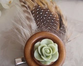 Hackle & Guinea Feather Wooden Button Hair Clip - Sage Green Resin Rose Cabochon - Hair Clip - Hair Accessories