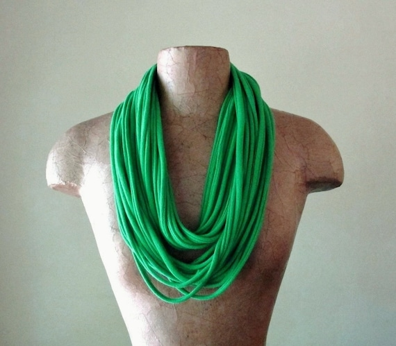 Green Scarf Necklace - Eco Friendly Jersey Fabric Necklace - Upcycled Cotton Fabric Scarf