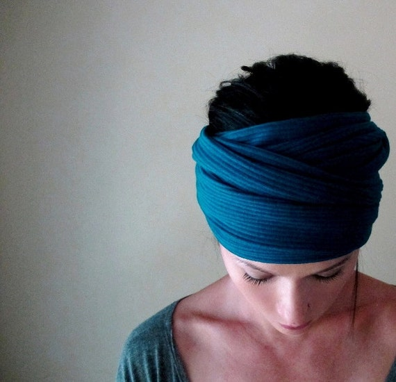Peacock Blue Head Scarf - All in One Accessory - Hair Wrap, Headband - Ribbed Sweater Scarf