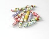 Spring Bright Floral Paper Beads - Upcycled Art - Colorful Flower Garden - SweetPaperLove