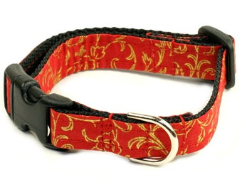 "Red Dog Collar - Ready To Ship - Small 5/8"" Dog Collar - Red with Gold Motif - no bow tie"