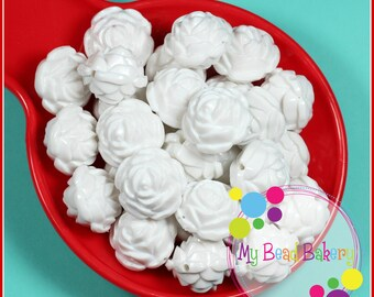 6 Pieces 24mm White Acrylic Rose Beads DIY Crafts For Chunky Necklaces and Bracelets