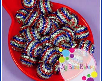 6 Pieces 22mm Resin Rhinestone Red White Blue Beads Gumball Style Beads DIY Crafts For Chunky Necklaces And Bracelets Limited