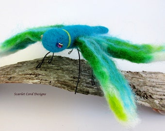 Dragonfly, Aqua and Green, Needle Felted Insect, Soft Sculpture, Insect, Fiber Insect, Felted Dragonfly