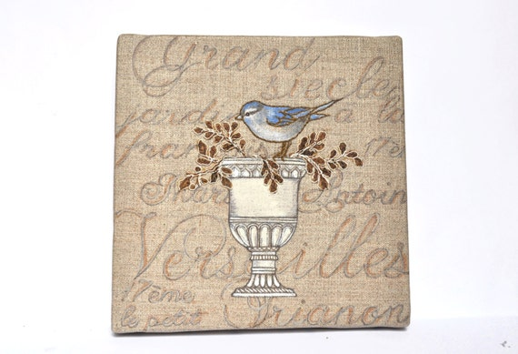 Art bird ornament mixed media on linen canvas. Shabby chic. France. OOAK