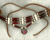 Pipe Bead necklace with Bear Claw pendant & Antler beads - One of a Kind