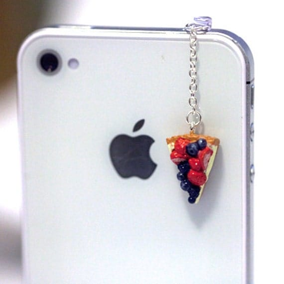 Kawaii FRUIT PIE Iphone Earphone Plug/Dust Plug - Cellphone Headphone Handmade Decorations